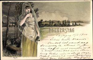 Jugendstil Künstler Litho Frünot, H., Donnerstag, Frau mit Kopftuch, Regen, Gewitter