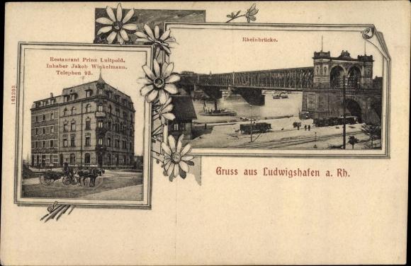 Ak Ludwigshafen am Rhein, Restaurant Prinz Luitpold, Rheinbrücke