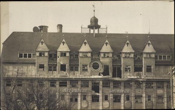 Ak München Bayern, Aktienbrau Löwenbräu, Gebäudeschäden, Straßenkämpfe 1919