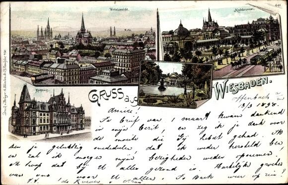 Litho Wiesbaden in Hessen, Totalansicht, Kochbrunnen, Rathaus