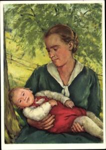Künstler Ak Für notleidende Mütter, Mutter mit Kind, Bundesfeierkarte 1939
