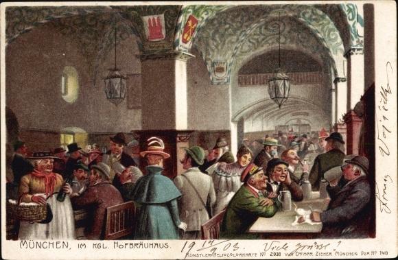 Künstler Litho Hey, Paul?, München Bayern, Im königlichen Hofbräuhaus