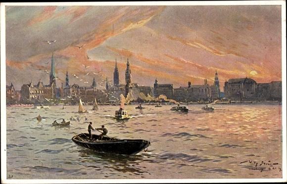 Künstler Ak Stöwer, Willy, Hamburg, Blick auf die Altstadt