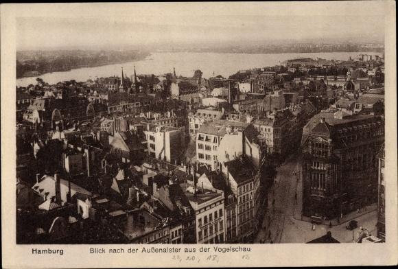 Ak Hamburg, Blick nach der Außenalster aus der Vogelschau
