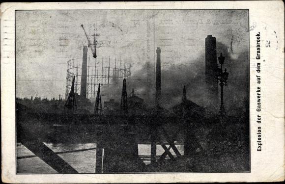 Ak Hamburg, Explosion der Gaswerke auf dem Grasbrook