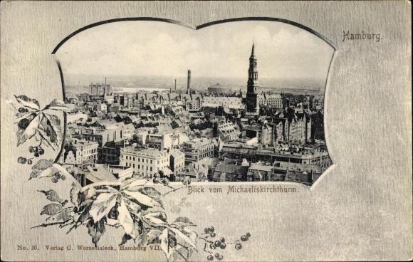 Passepartout Ak Hamburg, Blick vom Michaeliskirchturm