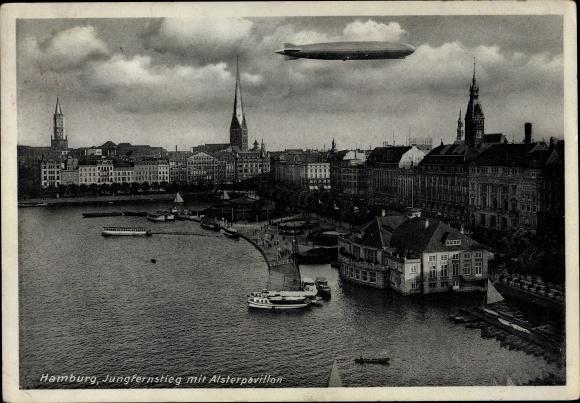Ak Hamburg, Jungfernstieg mit Alsterpavillon, Zeppelin