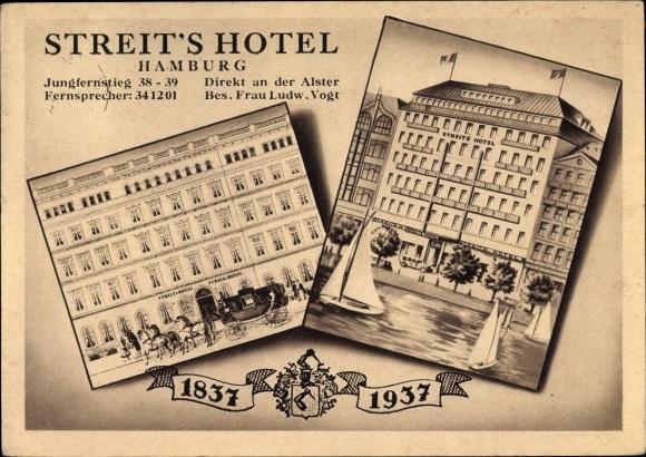 Ak Hamburg, Streits Hotel, Jungfernstieg 38/39