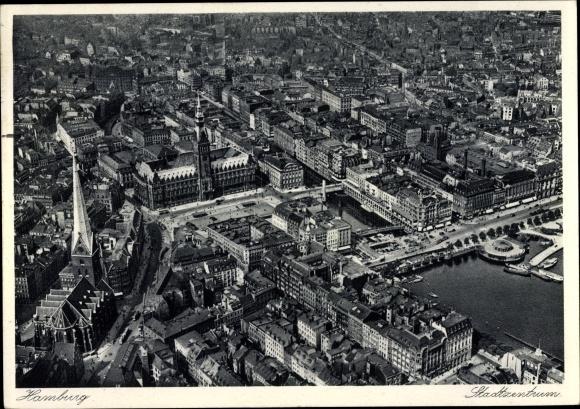 Ak Hamburg, Luftbild des Stadtzentrums