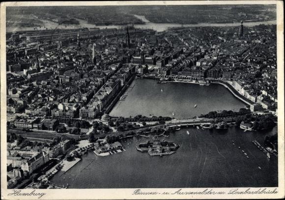 Ak Hamburg, Binnen und Außenalster mit Lombardsbrücke