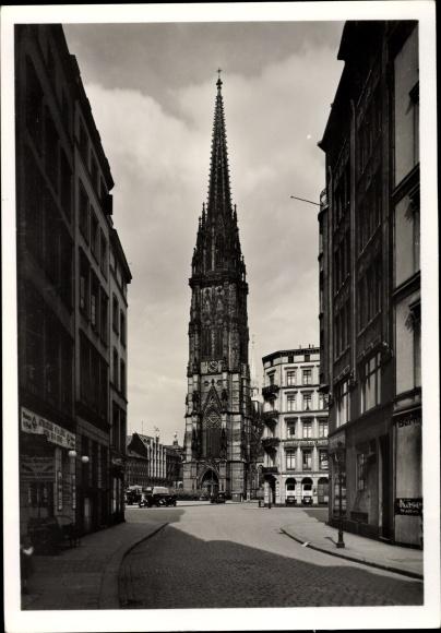Ak Hamburg, Ansicht der St. Nikolaikirche