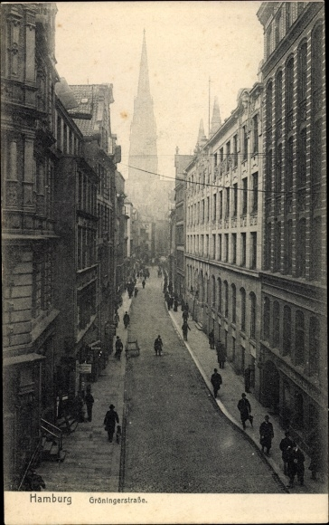 Ak Hamburg, Blick in die Gröninger Straße