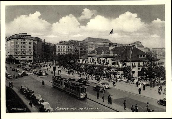 Ak Hamburg, Alsterpavillon, Alstereck, Straßenbahn