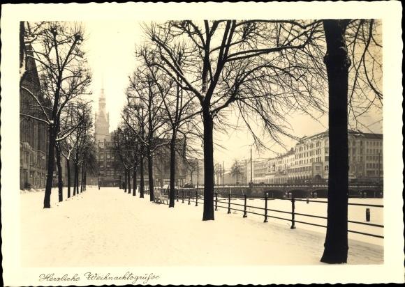 Ak Hamburg, Frohe Weihnachten, Allee, Reesendammbrücke, Alsterarkaden, Schneelandschaft, Winter