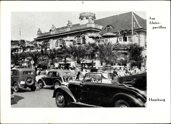 Ak Hamburg, Alsterpavillon, Autos