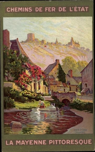 Künstler Ak Chemins de Fer de l'Etat, La Mayenne Pittoresque, bords