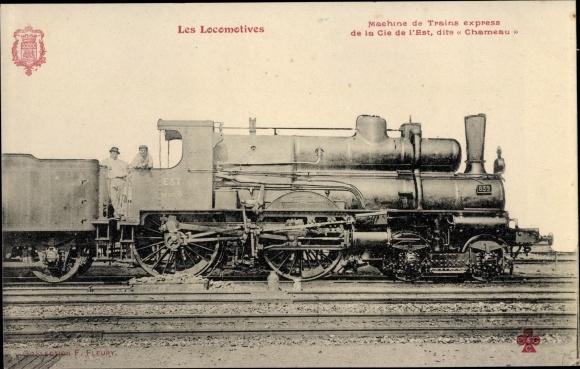 Ak Les Locomotives, Machine de Trains express, Cie de l'Est, Chameau, Dampflokomotive 839