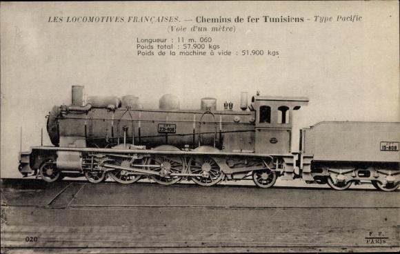 Ak Les Locomotives Francaises, Chemins de fer Tunisiens, Type Pacific, CFT 231 808, Dampflokomotive
