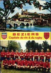 Wappen Ak Béziers Hérault, Rugby Mannschaft, Stadtansicht