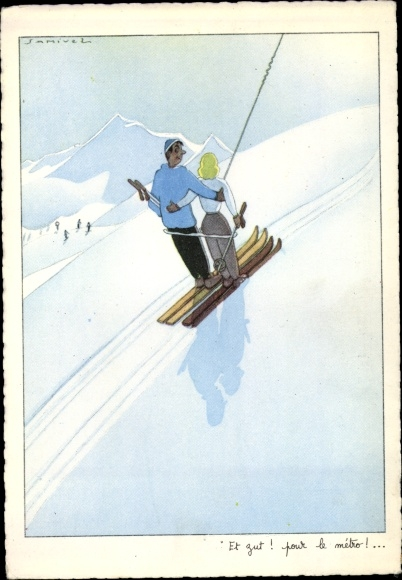 Künstler Ak Samivel, Skifahrer, Sessellift
