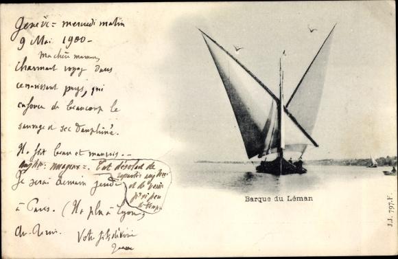 Ak Segelschiff auf dem Genfer See
