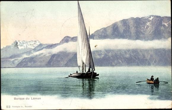 Ak Segelschiff auf dem Genfer See, Alpenpanorama, Ruderboot