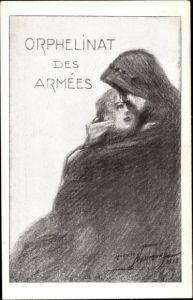 Künstler Ak Orphelinat des Armees, Waisenkind, Umarmung