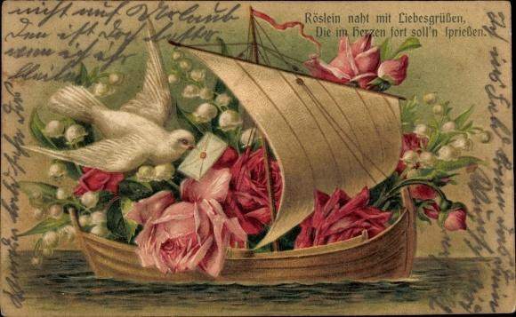 Präge Litho Boot mit Taube, Rosen, Maiglöckchen