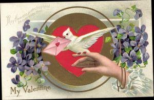 Präge Litho Valentinstag, Taube mit Liebesbrief, Veilchen