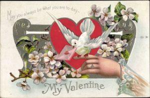Präge Litho Valentinstag, weiße Taube, Blüten, Brief