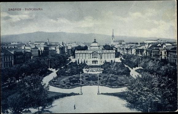 Ak Zagreb Kroatien, Stadtpanorama