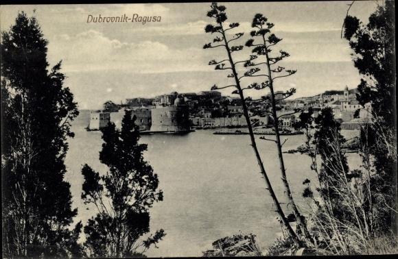 Ak Dubrovnik Ragusa Kroatien, Teilansicht der Stadt