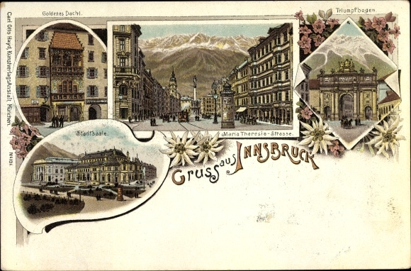 Litho Innsbruck in Tirol, Goldenes Dachl, Maria Theresia Straße, Triumphbogen, Stadtsäle
