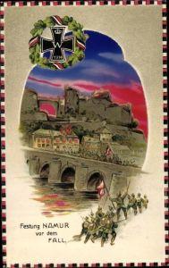 Halt gegen das Licht Relief Ak Namur Wallonien, Fall der Festung, deutsche Truppen, EK 1914
