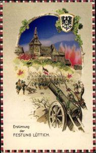 Halt gegen das Licht Relief Ak Liège Lüttich Wallonien, Erstürmung der Festung, I. WK