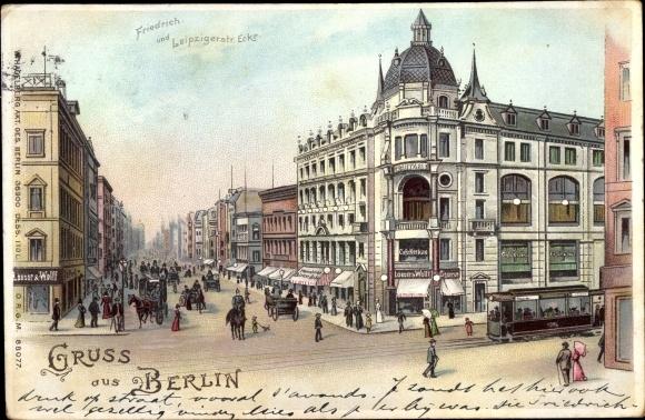 Litho Berlin, Friedrichstraße Ecke Leipziger Straße, Straßenbahn