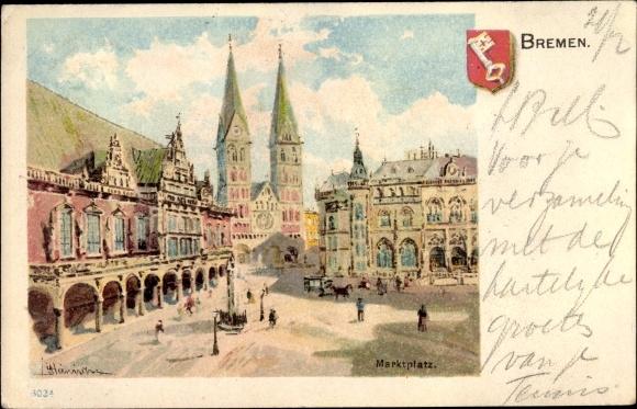 Wappen Künstler Litho Hansestadt Bremen, Blick auf den Marktplatz