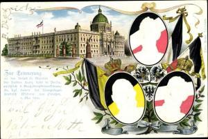 Präge Litho Berlin Mitte, Schloss, Kaiser Franz Joseph I., Kaiser Wilhelm II., Kronprinz Wilhelm