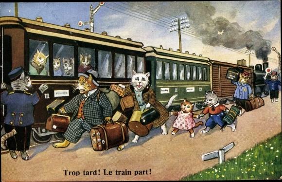 Künstler Ak Katzenfamilie eilt zum Bahnhof, der Zug fährt ab, trop tard, le train part