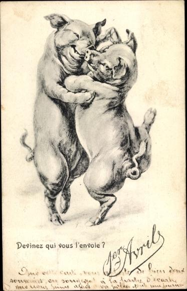 Ak 1. April, tanzende Schweine, Devinez qui vous l'envoie