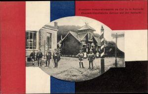 Ak Col de la Schlucht Vosges, frontière franco-allemande, soldats allemands et francais