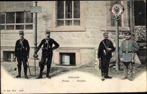 Ak Schlucht Vosges, Frontière franco-allemande, soldats francais et allemands
