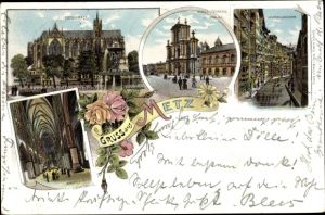 Litho Metz Moselle, Kathedrale, Vinzenzkirche, Lyceum, Gerbergraben, Inneres der Kathedrale
