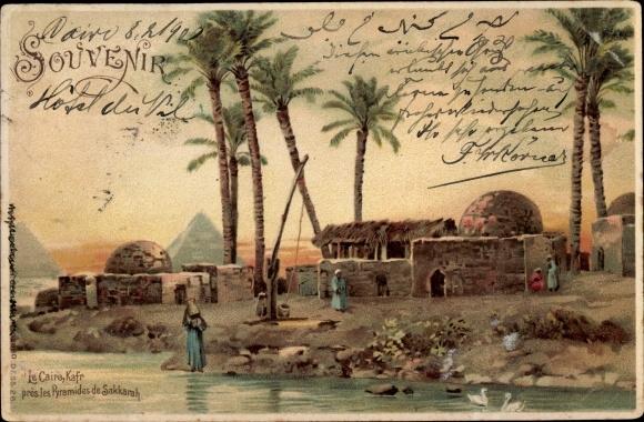 Litho Cairo Kairo Ägypten, Kafr, Pyramides de Sakkarah