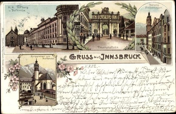 Litho Innsbruck in Tirol, Hofburg, Hofkirche, Triumphpforte, Herzog Friedrich Straße, Burggraben