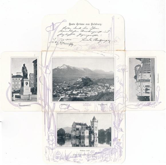 Klapp Ak Salzburg in Österreich, Schloss Anif, Mozartdenkmal, Stadttheater, Panorama
