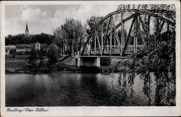 Ak Haselberg Ostpreußen, Ostfluss, Brücke