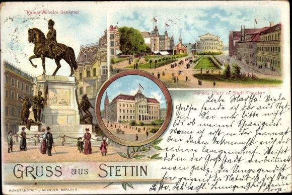 Litho Szczecin Stettin Pommern, Kaiser Wilhelm Denkmal, Paradeplatz, Stadttheater