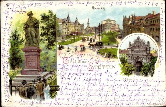 Litho Szczecin Stettin Pommern, Denkmal Friedrich II, Königsplatz, Berliner Tor