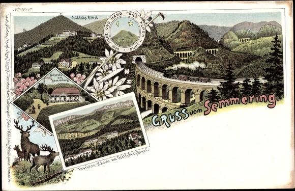 Litho Semmering Niederösterreich, Viadukt, Südbahn Hotel, Meierei, Touristenhäuser, Wolfsbergkogel